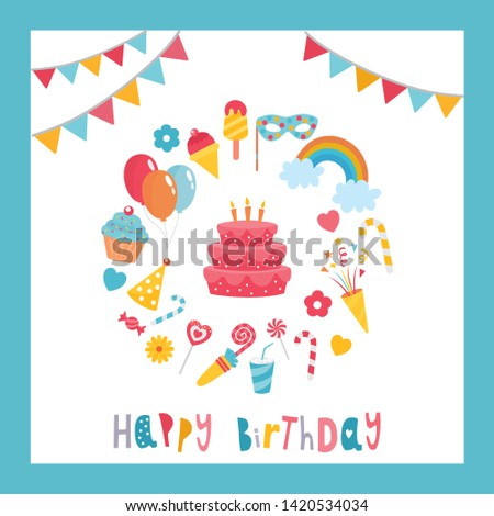 Greeting card design with Birthday elements. Beautiful template with letters. Birthday cake. For baby birthday, party, invitation.