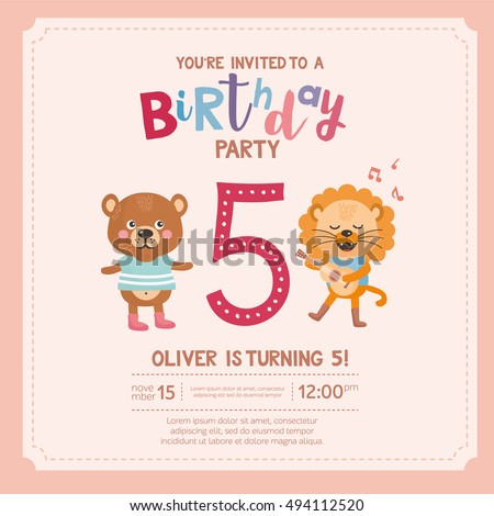 Greeting Card Design With Cute Lion And Bear Happy Birthday Invitation Template For Five Year