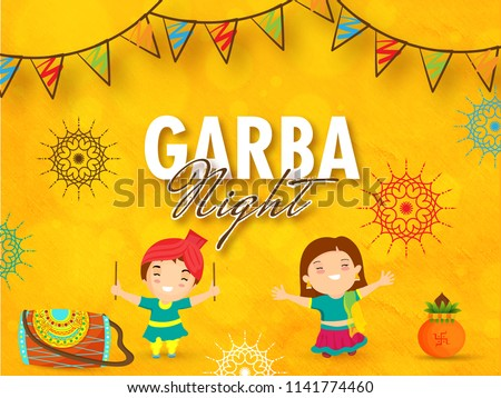 Greeting card design with happy kids in dancing pose, drum (Dhol) on orange floral background decorated with bunting flags for Garba event celebration.