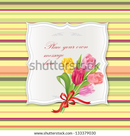 Greeting card. Flower tulips spring bouquet. Vintage frames with copy space.
