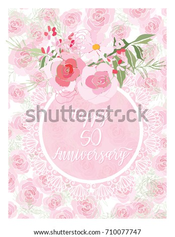 Greeting Card For Anniversary Birthday Flower Composition To A