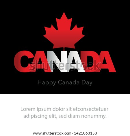 Greeting card for Canada Day on July 1st. Happy Canada Day Typography Design, Canada Maple Leaf. Copy space