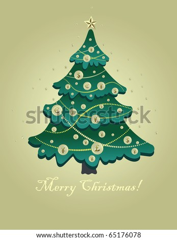 Greeting card for Christmas with a Christmas tree with gold coins.
