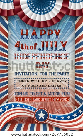 Greeting card for fourth of july holiday. EPS 10 contains transparency