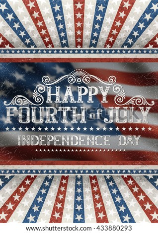 Greeting card for fourth of july holiday, with american flag on the background. EPS 10 contains transparency