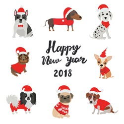 Greeting card for 2018. Happy new year. Dogs in costumes Santa Claus