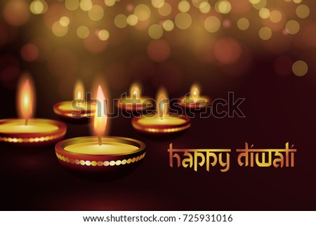 Diwali greeting card design with golden diya download free vector greeting card for indian deepavali hindu festival happy diwali design greeting card with lamps m4hsunfo