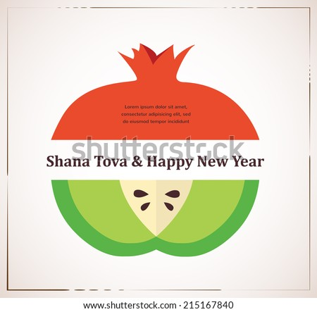 Vector rosh hashanah download free vector art stock graphics images greeting card for jewish new year rosh hashana with traditional fruits m4hsunfo