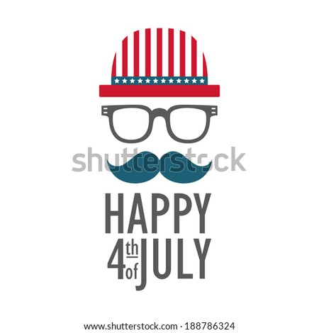 Greeting card for 4th of July, Independence Day of the United States.