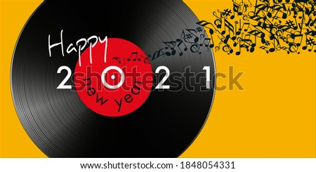 Greeting card for the year 2021 on the concept of music, with as symbol a vinyl record and a note banner flying away. Photo stock ©