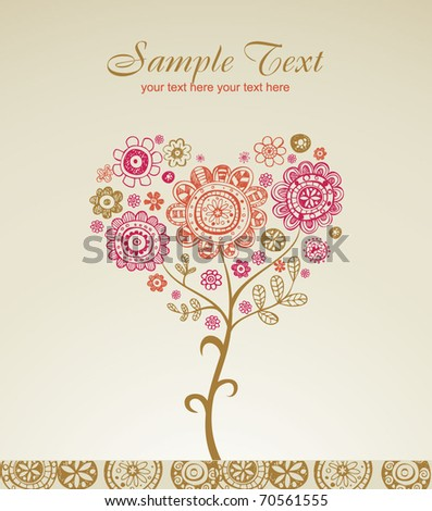 Greeting card for wedding or valentine's day - stock vector