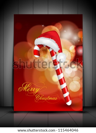 Greeting card, gift card or invitation card for Merry Christmas with cane and Santa Hat. EPS 10.