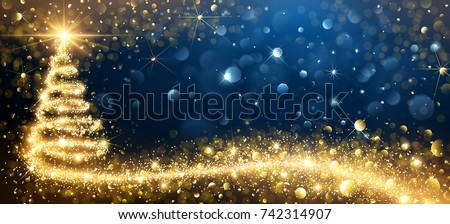 Shutterstock Greeting Card Golden Christmas Tree. Vector Illustration
