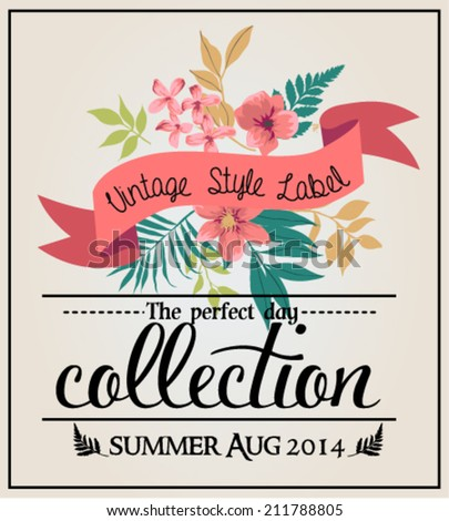 greeting card graphic set vintage labels with flower