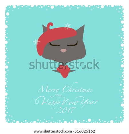 greeting card grey cat in a