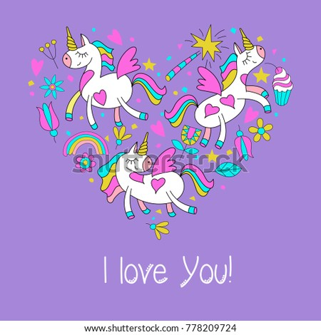 Greeting card happy Valentine's Day. Cute magical unicorns, flowers, cakes, magic wand, stars, rainbow. Set of vector cliparts has the shape of a heart.