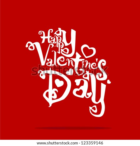Greeting card Happy Valentine's Day line vector illustration EPS 10