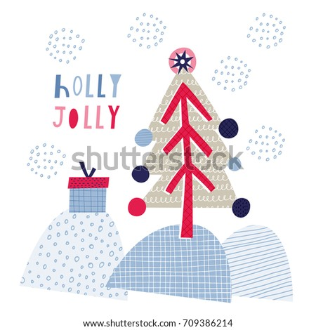 Greeting card: Holly Jolly. Creative hand drawn card for winter holidays with cute Christmas tree and gift. Vector cartoon illustration. Hand drawn typography poster. Xmas design. Pink and blue