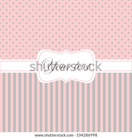 Greeting card in pink and grey pastel colors