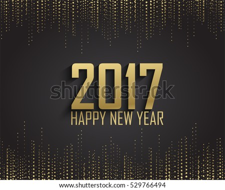 Greeting card, invitation with happy New year 2017 and Christmas. Metallic gold Christmas balls, decoration, shimmering, shiny confetti on a black background. Vector Illustration #529766494
