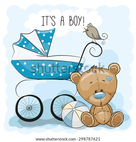 Greeting card it\'s a boy with baby carriage and Teddy Bear