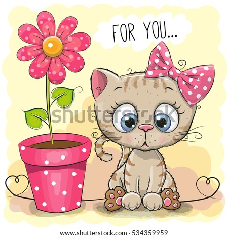 greeting card kitten girl with