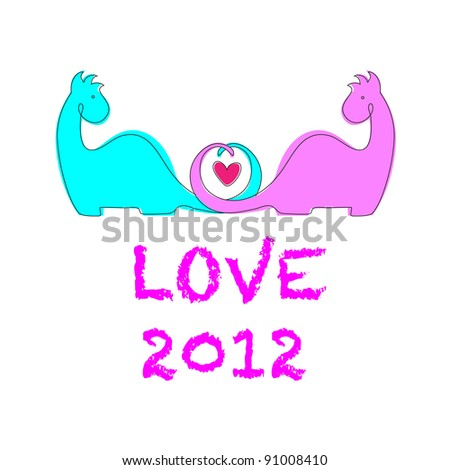 Greeting Card. Lovers Dragons. Vector template for your design.