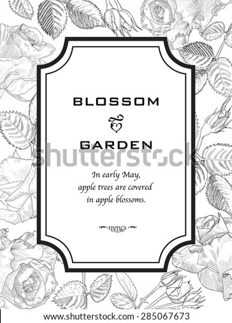 Greeting Card made of Hand Drawn Flowers Roses. Monochrome Botanical Vintage Vector Illustration. Blooming Frame Can Use as Element Design, Card, Template, Invitation, Wedding, Birthday etc