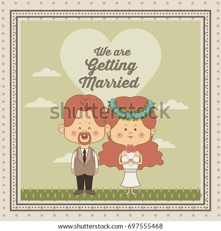 greeting card of scene sky landscape with decorative frame of just married couple bride and groom with redhair #697555468