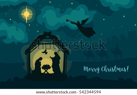 Greeting card of Traditional Christian Christmas Nativity Scene of baby Jesus in the manger with Mary and Joseph in silhouette. #542344594