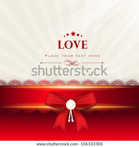 Greeting card or gift card with red ribbon and text love. EPS 10.