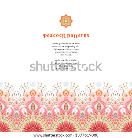 Greeting card or invitation. Border with oriental paisley flower and peacock feathers. Place for your text