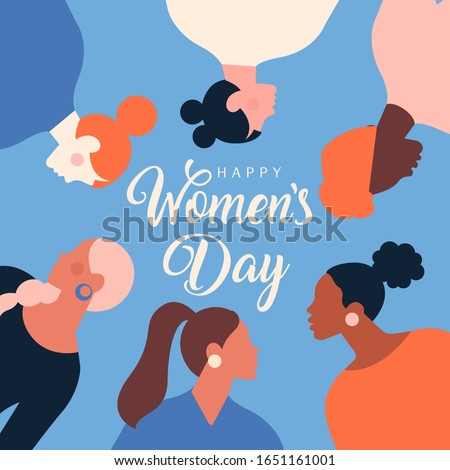 Greeting card or postcard templates with feminism activists and Happy Women's Day wish. Modern festive vector illustration for 8 March celebration.