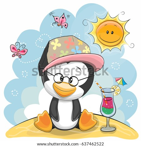 greeting card penguin in a cap