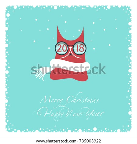 greeting card red cat in a