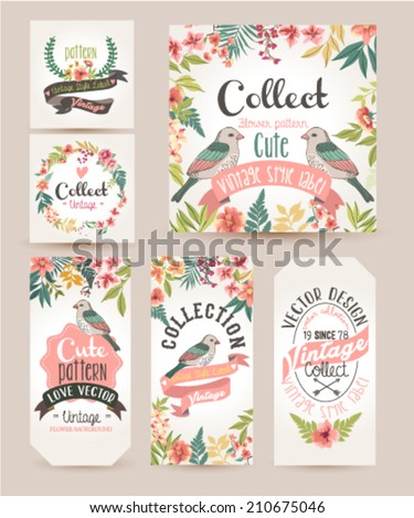 greeting card,romantic labels with flower