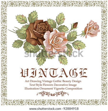 Greeting card. Roses. Flowers. Beautiful frame with a flower ornament.