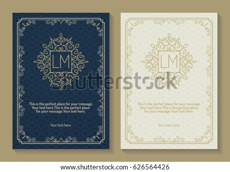 stock-vector-greeting-card-set-with-monogram-logo-and-frame-line-style-gold-color-on-vintage-background-for-use