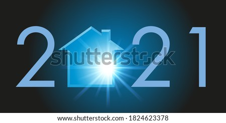 Greeting card showing the silhouette of a house to symbolize a real estate program project and the acquisition of housing for the year 2021.