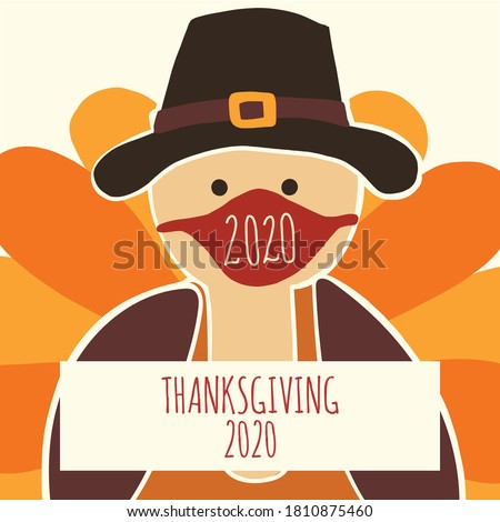 Greeting card template Thanksgiving 2020. Fully editable vector illustration. Turkey wearing a face mask. Stay home, social distancing design. Flyer, poster, greeting card, social media post