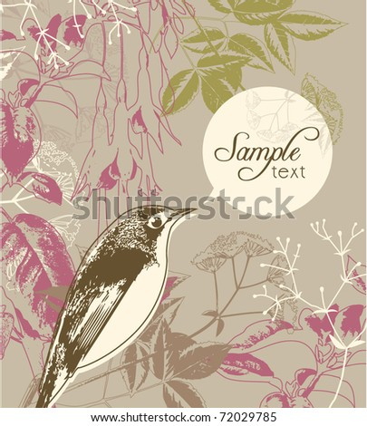 greeting card template with bird & floral background