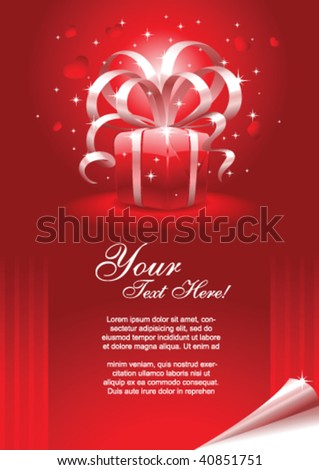 Greeting card template with gift box and copy space, vector illustration.