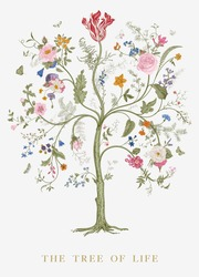 Greeting card. The Tree of Life. Vintage floral vector element. Victorian. Colorful