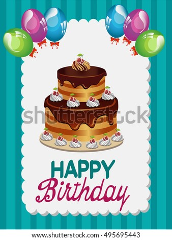 greeting card to birthday with cake, balloons on blue background