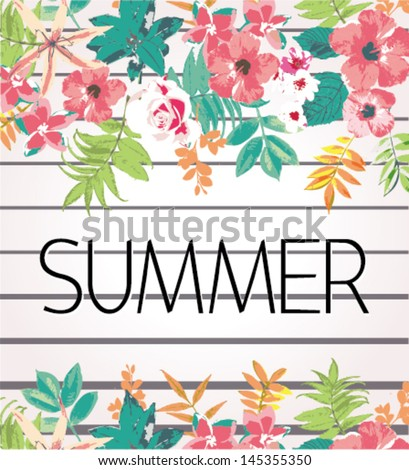greeting card tropical flower summer holiday vector pattern background
