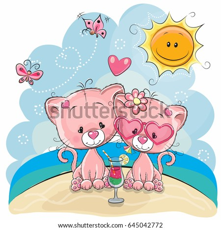 greeting card two kittens in a