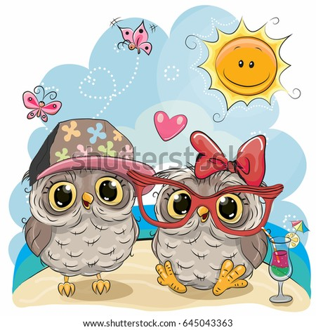 greeting card two owls in