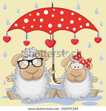 Greeting card two Sheep with umbrella