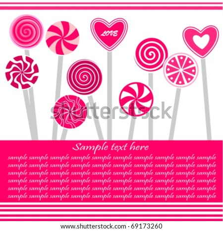 Greeting Card/ Valentine's Day card with pink lollipops