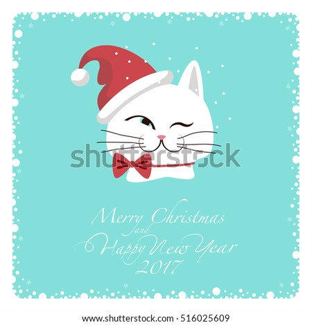 greeting card white cat in